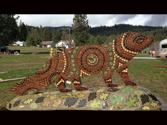 pacific fisher back watershed art group ashland oregon mosaic sculpture ceramic tile cement public art artist jeremy criswell jacksonville bandersnatch trail