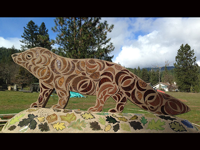 pacific fisher front watershed art group ashland oregon mosaic sculpture ceramic tile cement public art artist jeremy criswell jacksonville bandersnatch trail