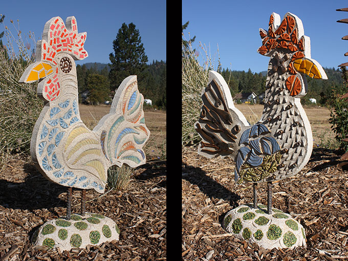 rooster mosaic tile public art sculpture jacksonville oregon rogue gallery jeremy criswell
