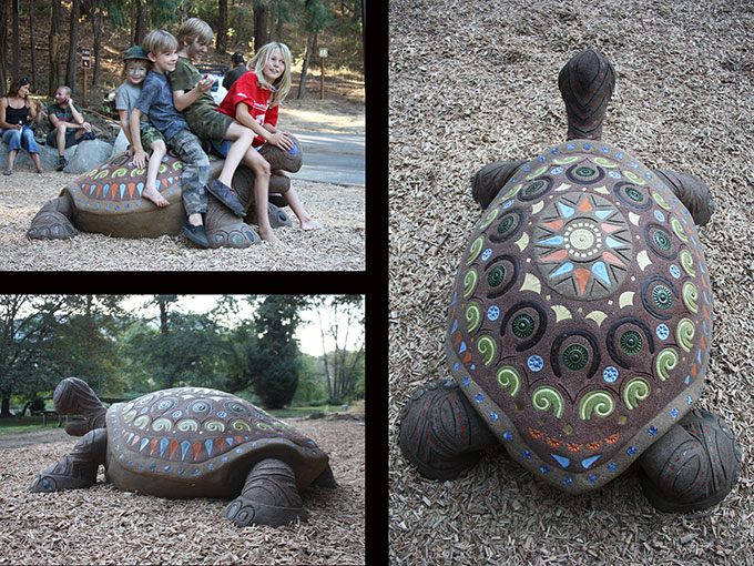 turtle mosaic sculpture public art tile cement cantrall buckley park playground applegate oregon jacksonville jeremy criswell