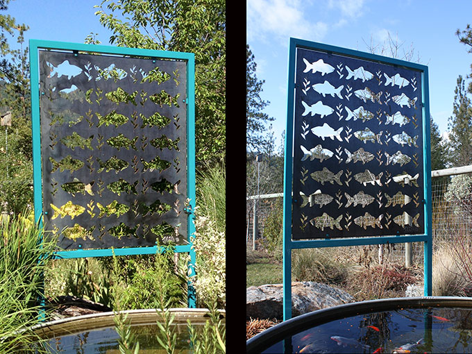 fishpanel welding sculpture steel fish garden decorative screening shade pond water jacksonville oregon jeremy criswell sculpture art