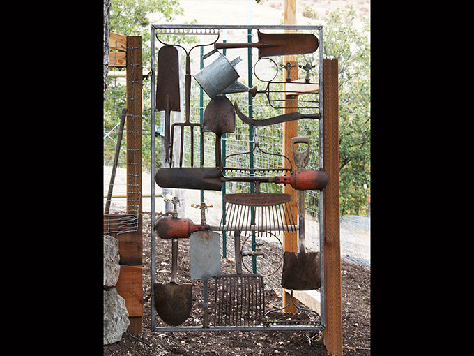 garden gate welding tools public art metalwork jermey criswell ashland oregon jacksonville salvage rusty sculpture
